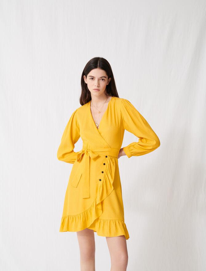 Sonnengelbes Wickelkleid mit Bindedetail - Kleider - MAJE