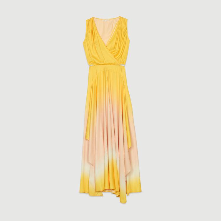 Langes Kleid Tie & Dye aus Satin : Kleider farbe Koralle