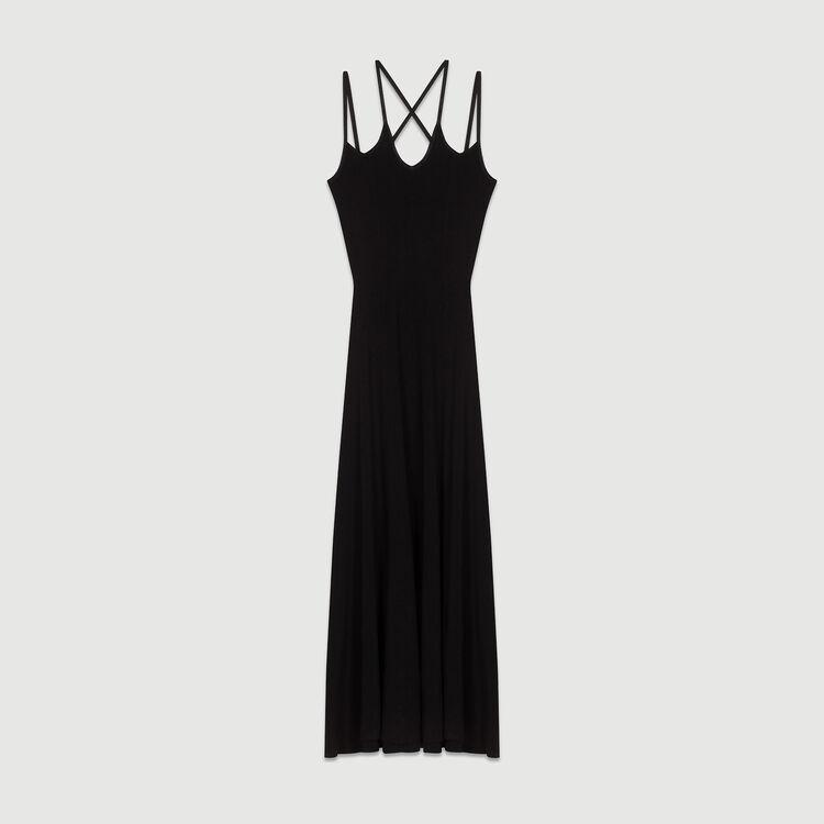 Langes Strickkleid mit Kreuzträgern : Kleider farbe Schwarz