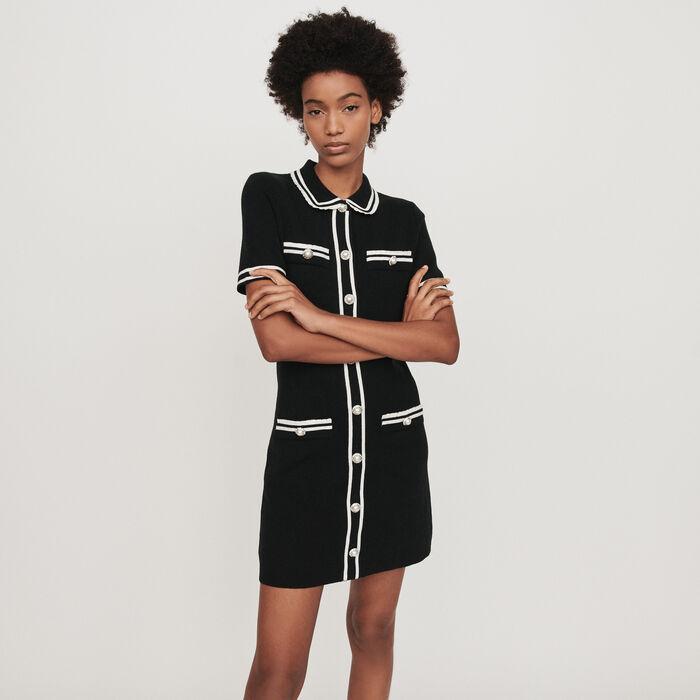 Gerades Kleid mit Schmuck-Besatz : Kleider farbe Schwarz