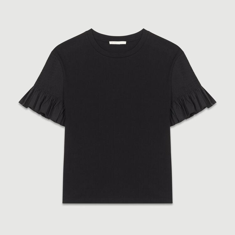 T-Shirt mit Baumwollrüschen : Tops farbe Schwarz