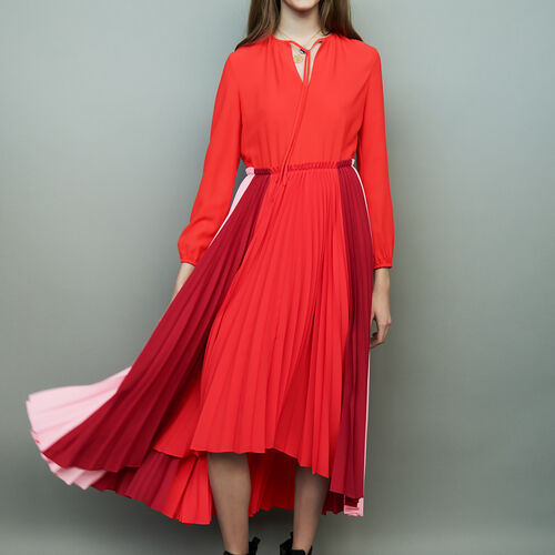 Mehrfarbiges Plissee-Hemdkleid : Kleider farbe Mehrfarbigen