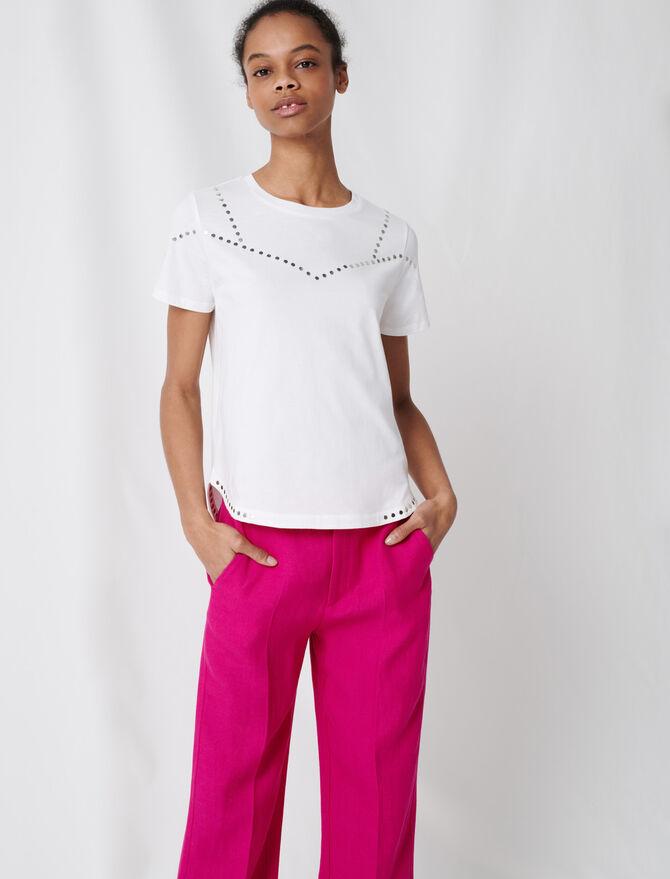 Weißes T-Shirt mit Nieten - T-Shirts - MAJE