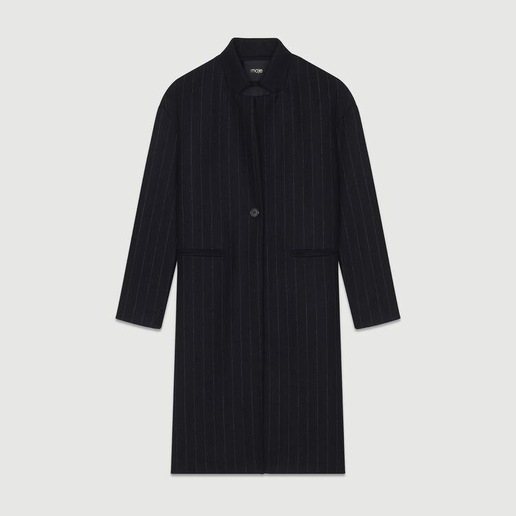 Gerader Mantel  mit feinen Streifen : Mäntel farbe Gestreift