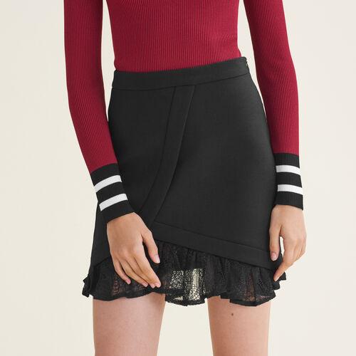 Asymmetrischer Rock mit Spitzendetails : Röcke und Shorts farbe Schwarz