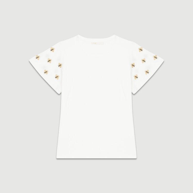 T-Shirt mit Bienenstickerei : T-Shirts farbe Ecru