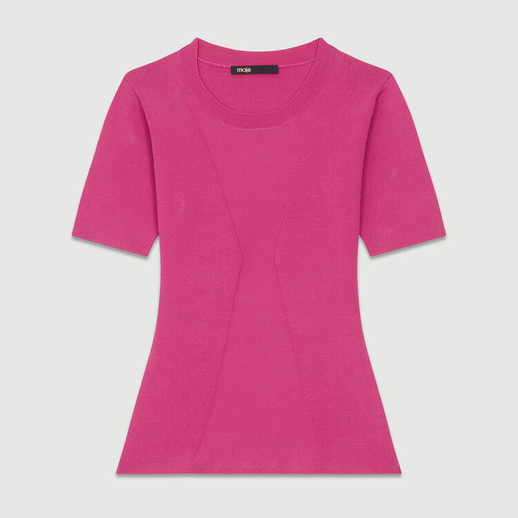 Feiner Pullover mit kurzen Ärmeln : Strickwaren farbe Fuchsiafarben