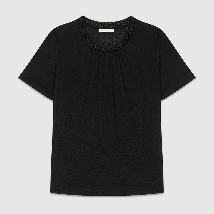 Leinen-T-Shirt mit Häkelkragen : T-Shirts farbe Schwarz