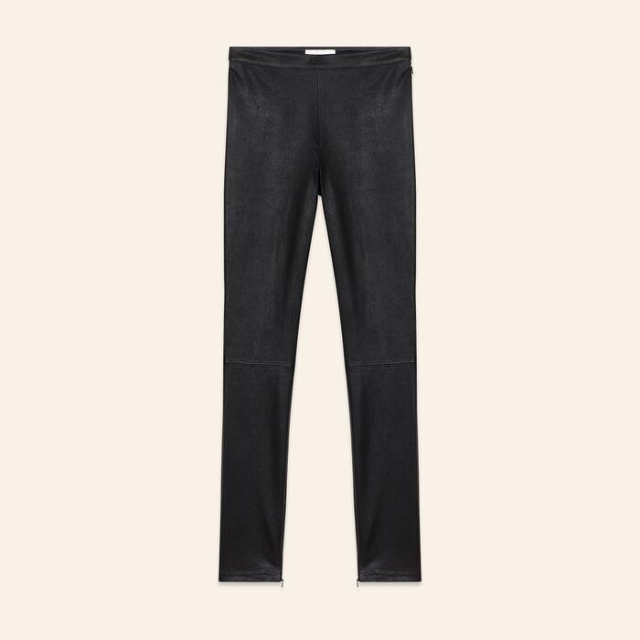Leggings aus Stretch-Leder : Hosen farbe Schwarz