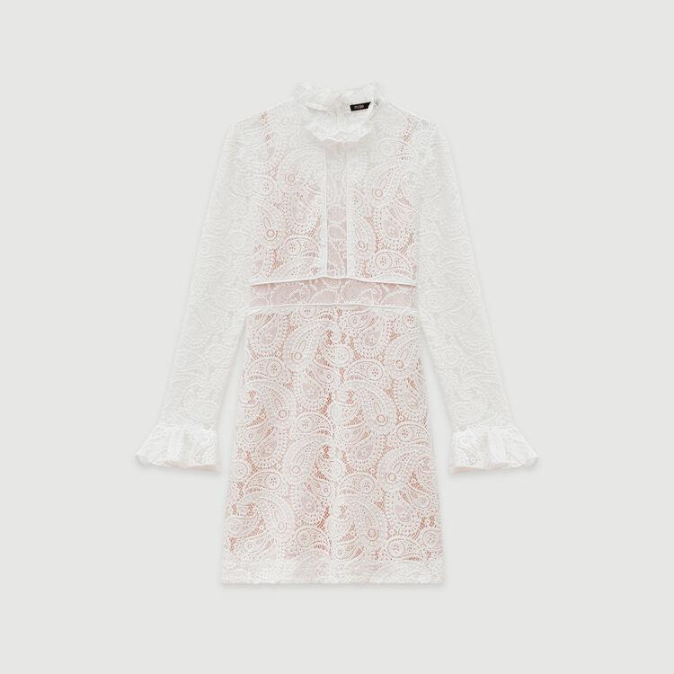 Kleid mit Kaschmir Motiven : Kleider farbe Ecru