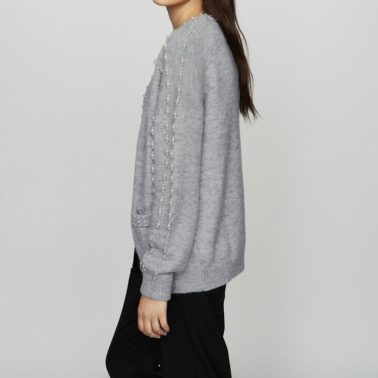 Langer Strick-Cardigan mit Perlen : Bekleidung farbe Grau