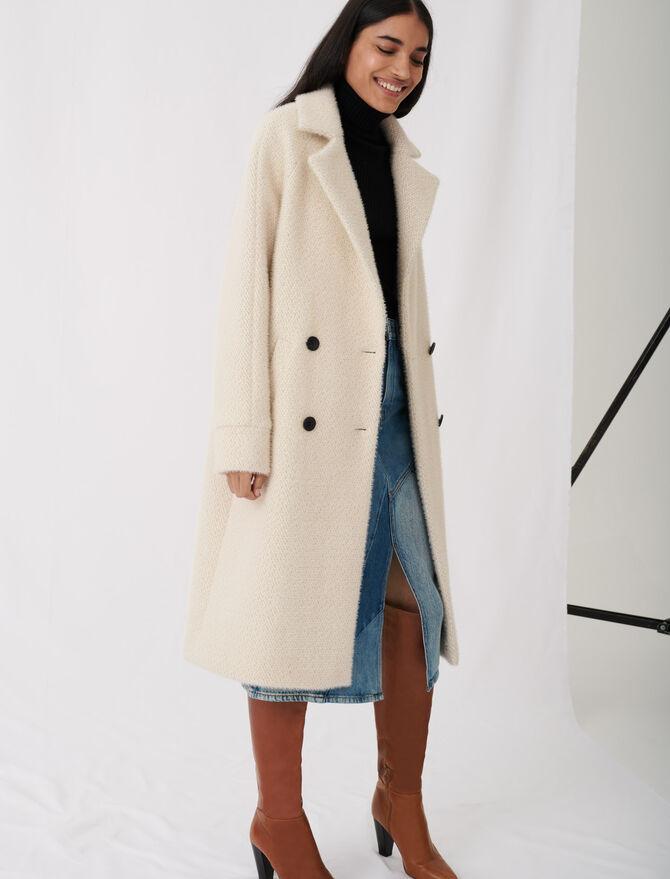 Zweireihiger Mantel aus Tricotine - Bekleidung - MAJE