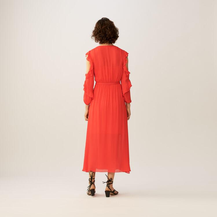 Langes Wickelkleid mit Faltenwurf : Kleider farbe ROUGE