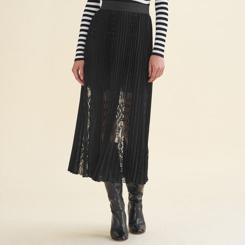 Plisseerock mit Spitze : Jupes & Shorts farbe Schwarz
