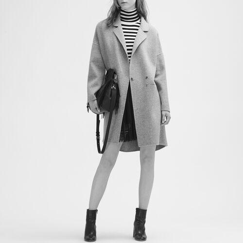 Mantel aus Doubleface-Wolle : Manteaux farbe Schwarz