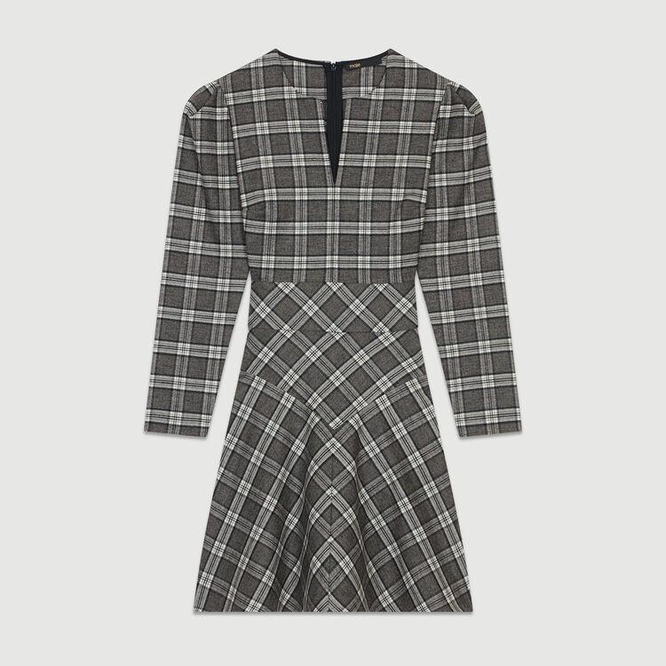 Kariertes Kleid aus Mischwolle : Kleider farbe CARREAUX