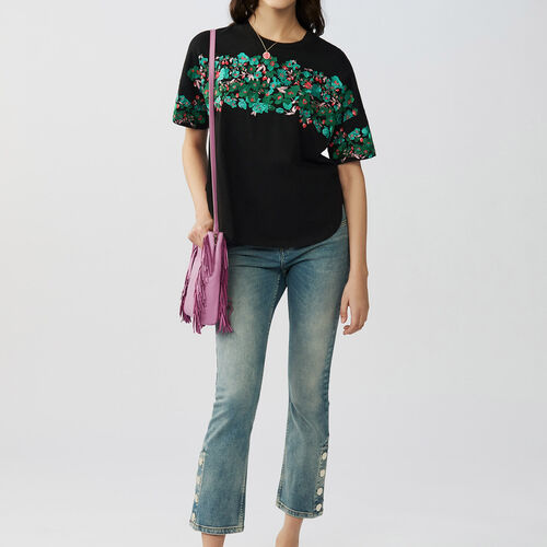 T-shirt with flowers embroideries : T-Shirts farbe Schwarz