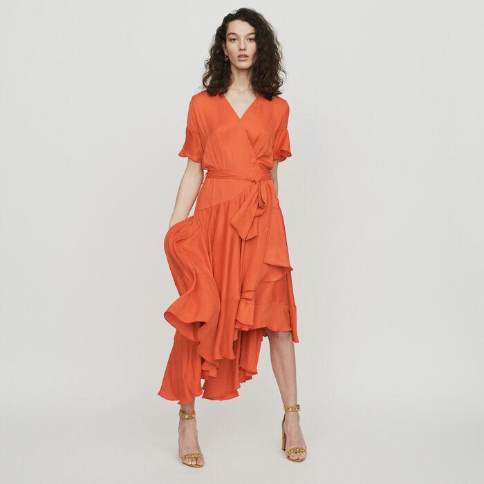 Langes Kleid mit Volants : Kleider farbe Koralle