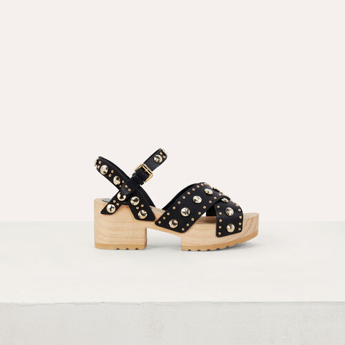 Wood heel sandals with studs : Flache Schuhe farbe SCHWARZ