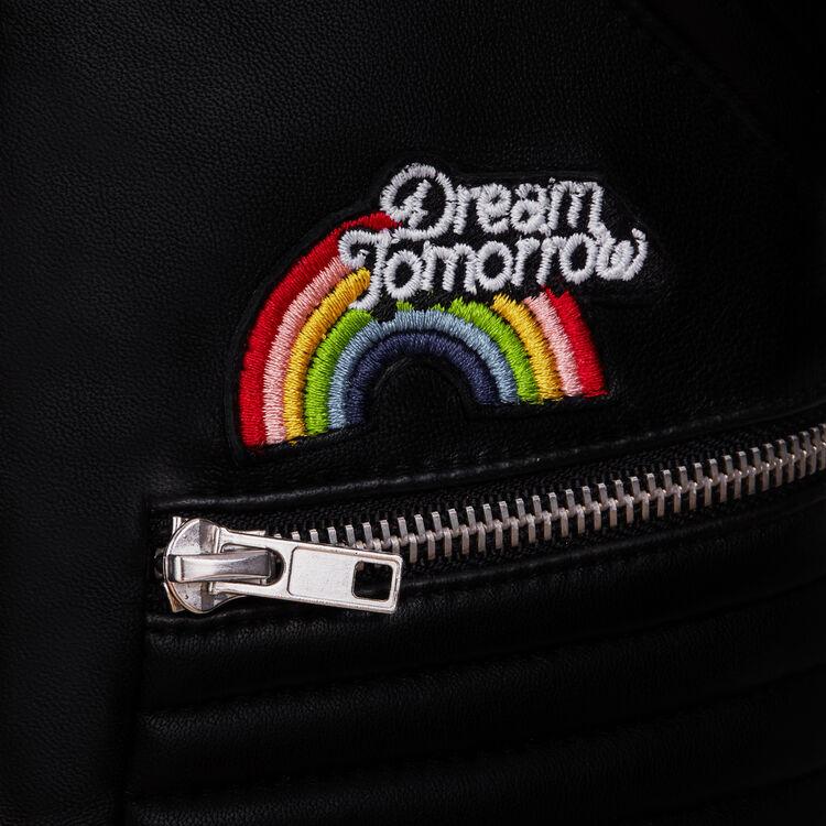 Lederjacke mit Stickereien : Jacken farbe Schwarz