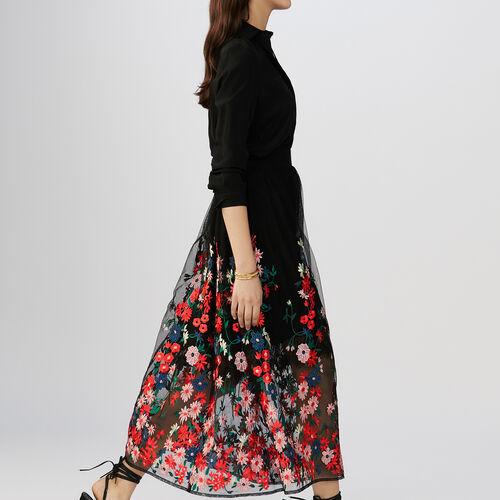 Bestickter Tüll-Unterrock : Röcke & Shorts farbe Schwarz