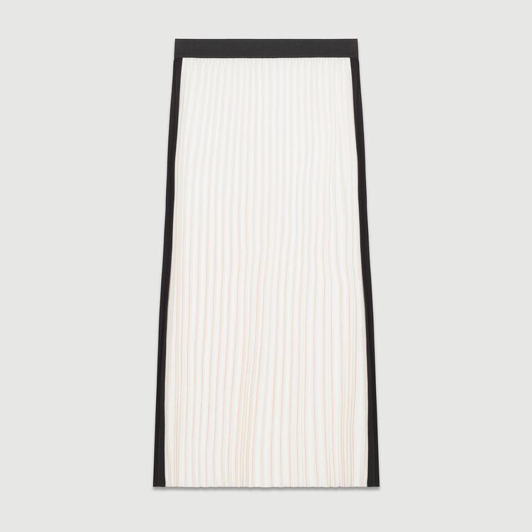 Langer zweifarbiger Faltenrock : Röcke & Shorts farbe ECRU