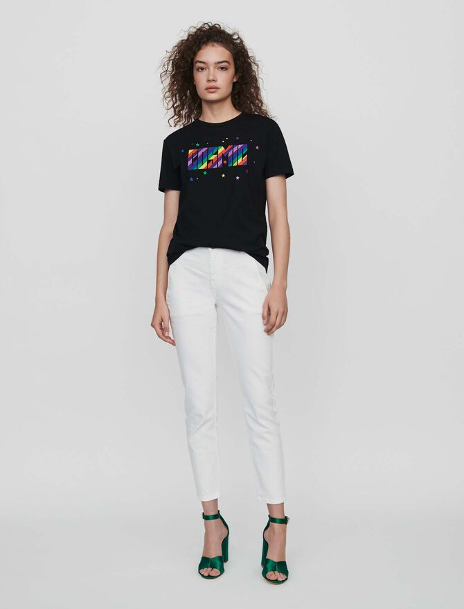T-Shirt mit Stickereien -  - MAJE