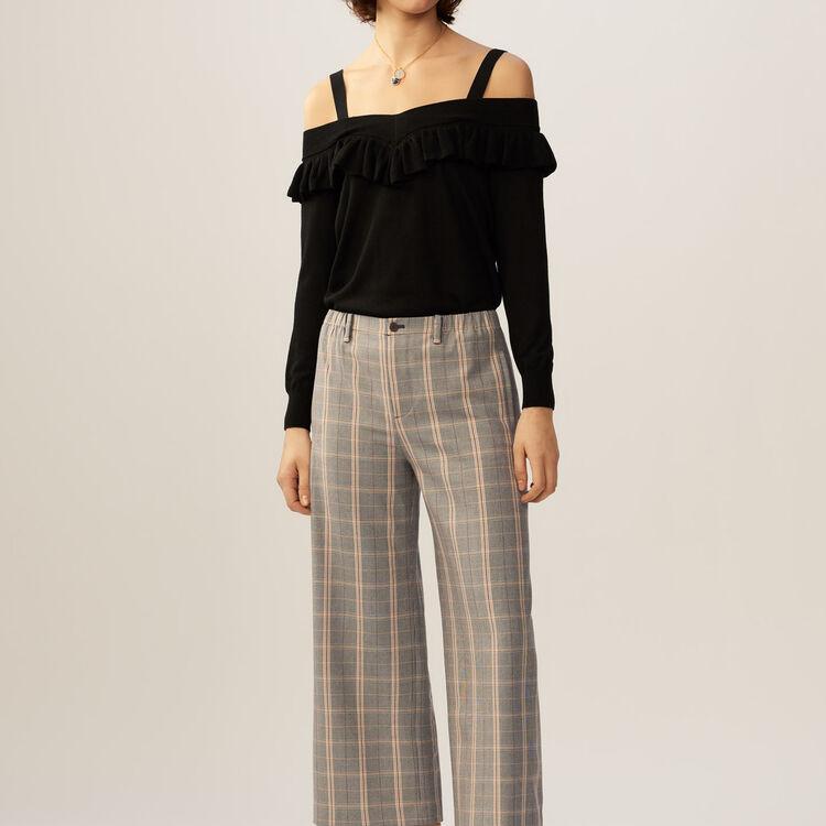 Dünner schulterfreier Pullover : Strickwaren farbe Schwarz