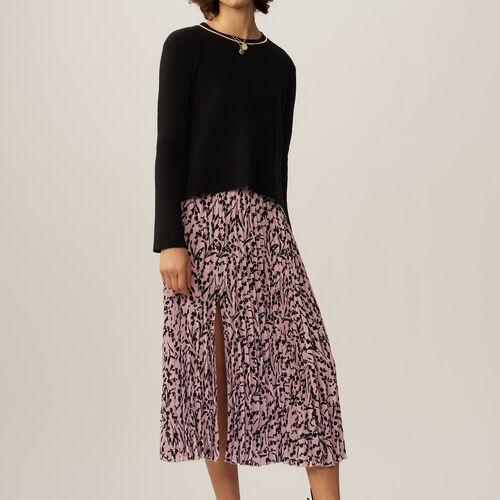 Feiner Baumwollpullover mit Kette : Strickwaren farbe Schwarz