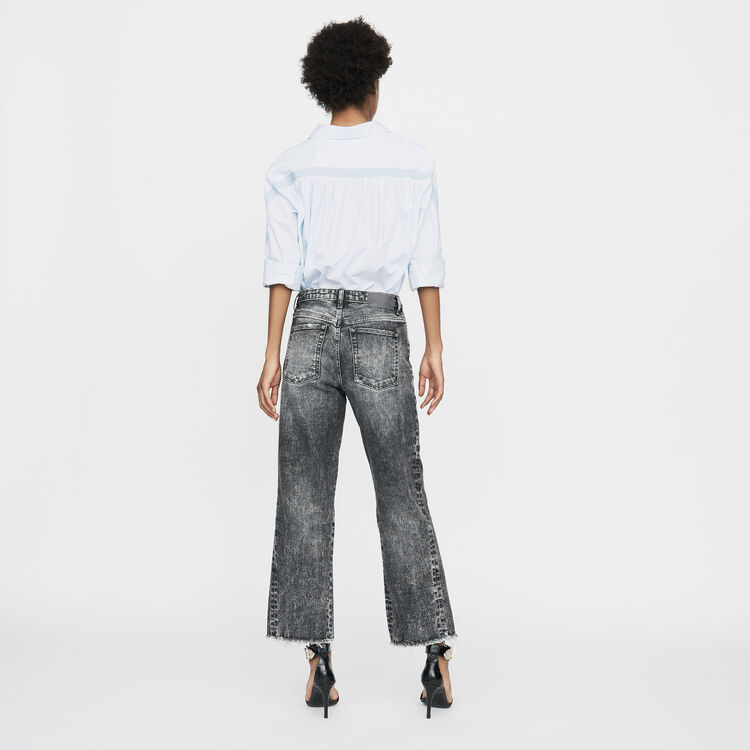 Wide leg distressed jeans : Jeans farbe Grau