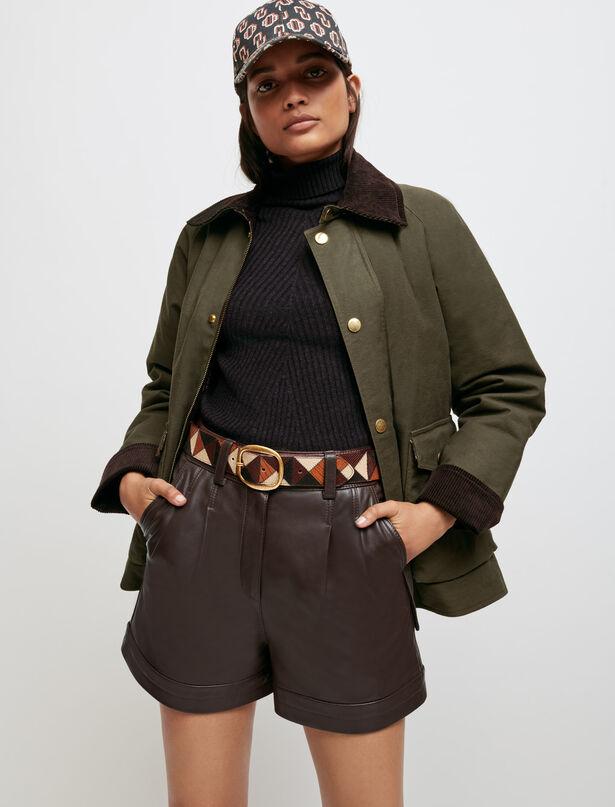 마쥬 반바지 MAJE Lammleder-Shorts,Braun