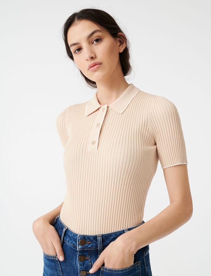 Gerippter Pullover im Polostil - Pullover & Strickjacken - MAJE