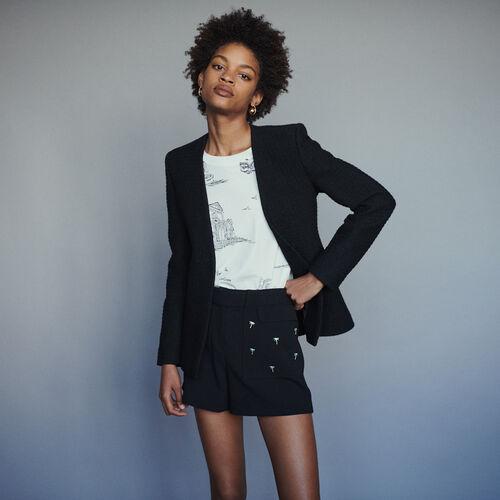 Jacke ohne Kragen mit Tweed-Effekt : Blazers farbe Schwarz