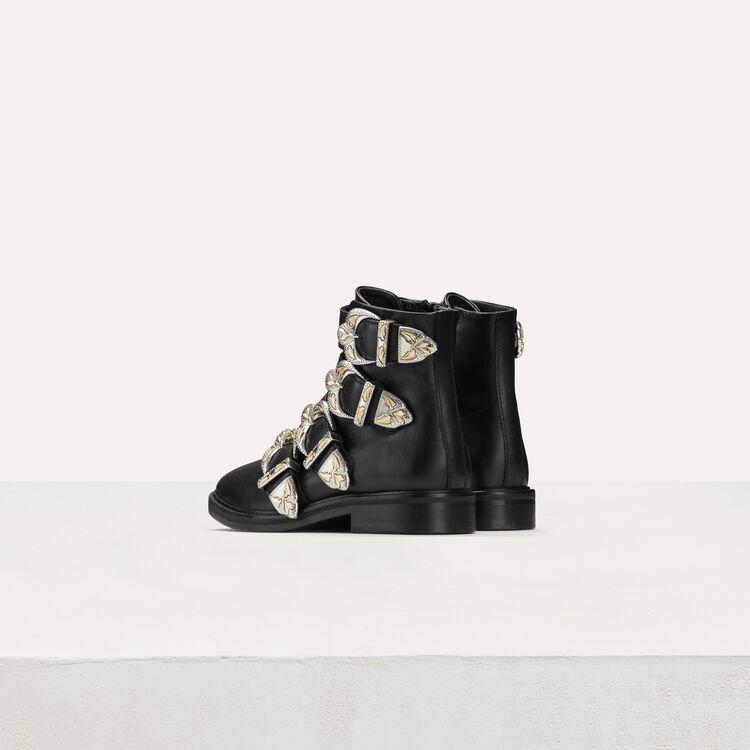 Lederstiefel mit Multi-Band : Stiefel farbe Schwarz