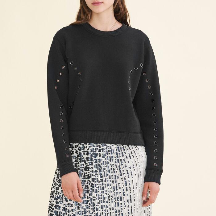 Sweatshirt mit Ösen - Strickwaren - MAJE