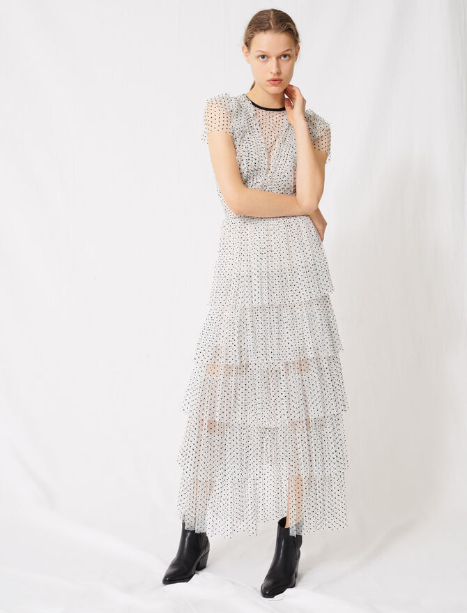 Langes gepunktetes Tüllkleid - Kleider - MAJE