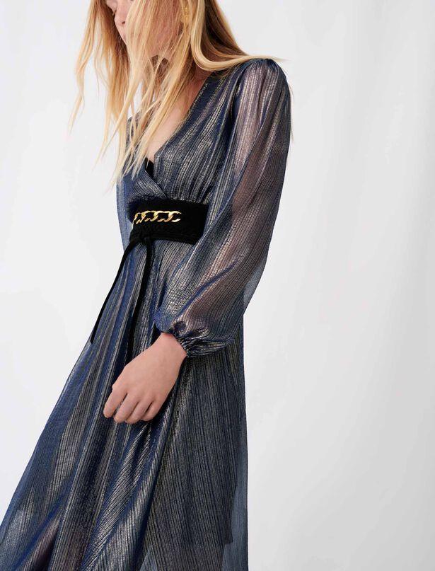 마쥬 원피스 MAJE Asymmetrisches Kleid mit Animalprint,Marineblau