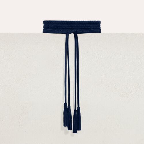 Breiter Velours-Ledergürtel : Gürtel farbe Marineblau