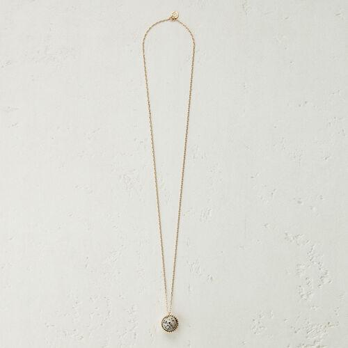 Halskette mit Natursteinkugel : Schmuck farbe  Off-White