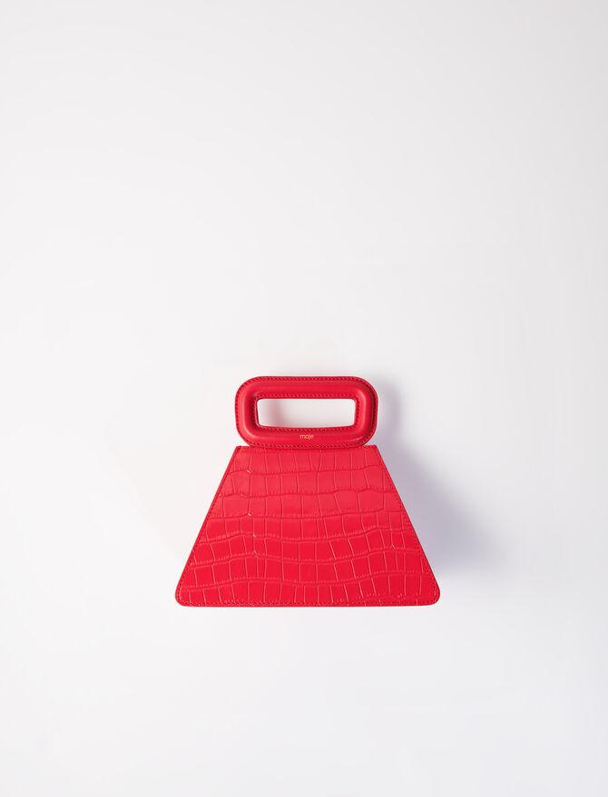 Pyramidenförmige Ledertasche Kroko-Stil -  - MAJE