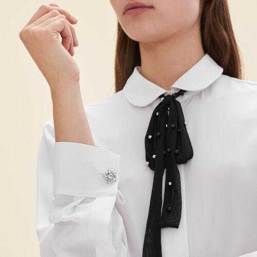 Hemdbluse aus Seide mit Tüll-Krawatte : Hemden farbe Weiss
