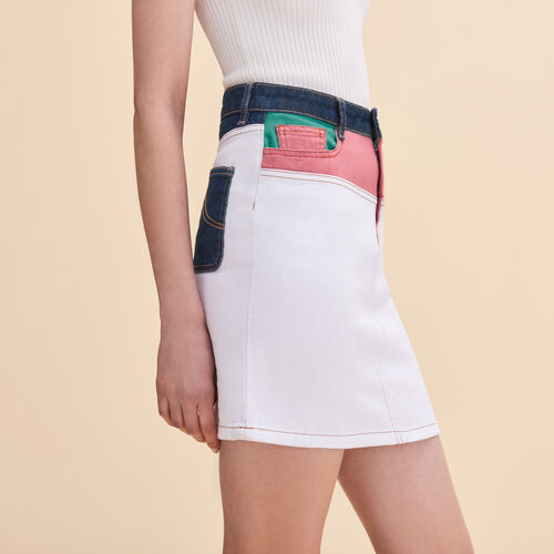 Kurzer Rock aus mehrfarbigem Denim : Röcke und Shorts farbe Mehrfarbigen