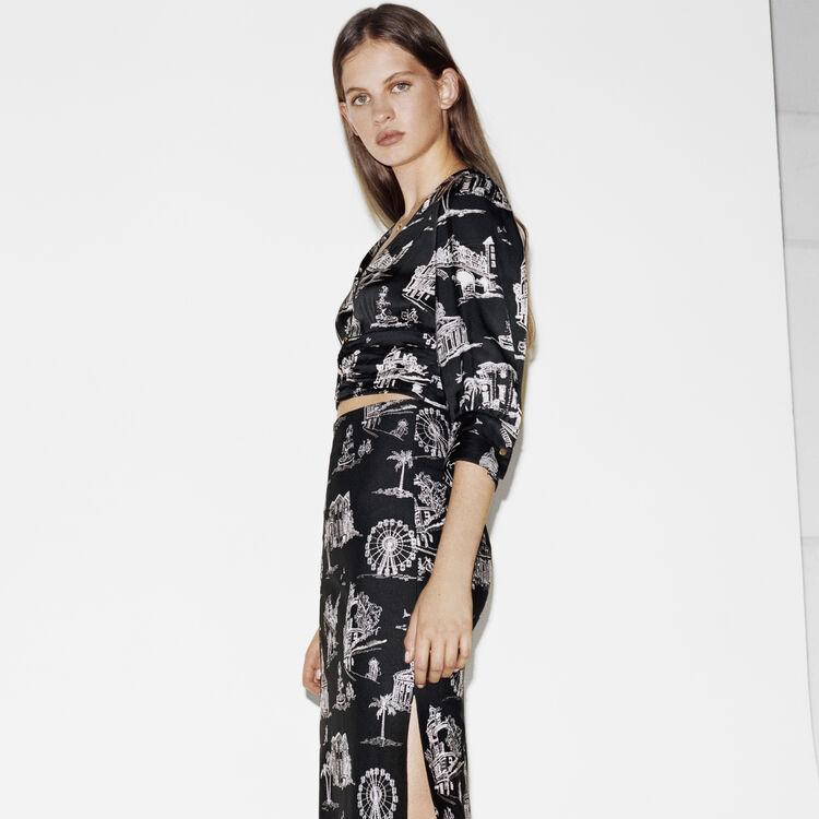 Kurzes Top mit Paris Print : Tops & Hemden farbe Schwarz