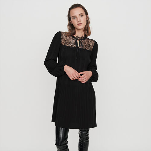 Plissee Kleid mit Spitze : Winter Kollektion farbe Schwarz
