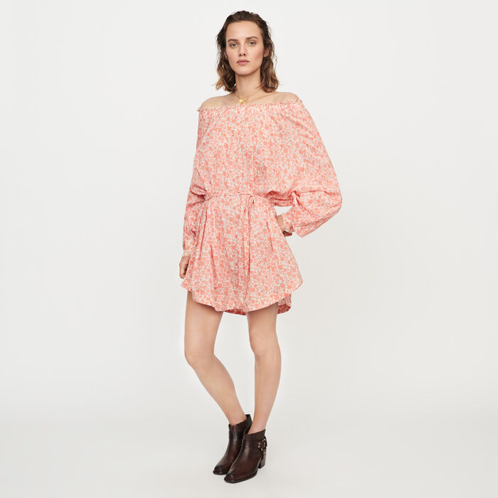 Florales kurzes Kleid aus Baumwoll-Voile : Kleider farbe Koralle