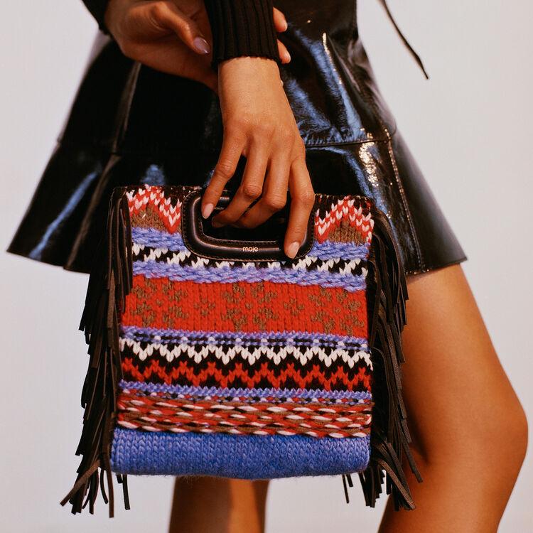 M-Tasche aus Strick und Leder : M Tasche farbe Blau