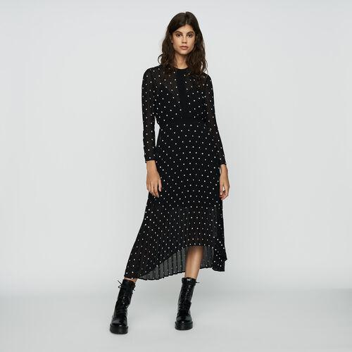 Langes Plissee Kleid mit Stickereien : Kleider farbe Schwarz