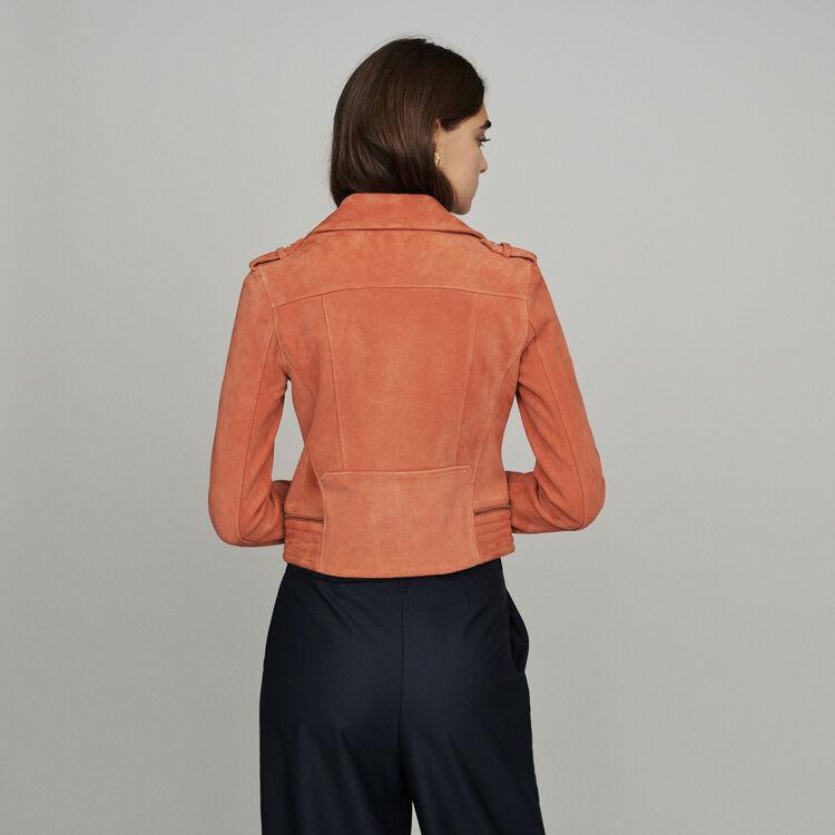 Lederjacke aus Wildleder : Mäntel & Jacken farbe Koralle