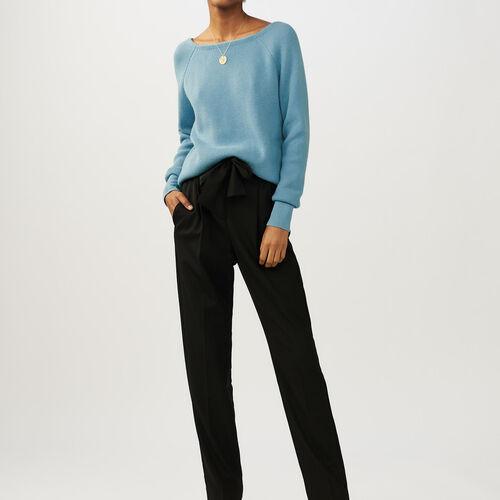 Pullover mit Rücken-Dekolleté : Strickwaren farbe Himmelblau