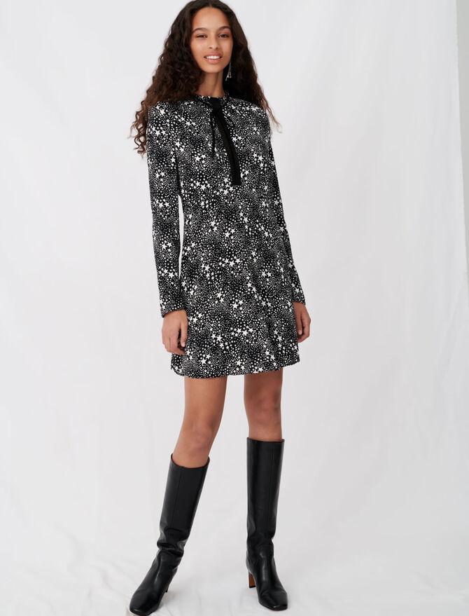 Bedrucktes Jacquard-Kleid mit Spitze - Kleider - MAJE